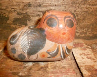Tonala Cat Burnished Mexican Gato Hand-Painted Folk Art Pottery Vintage Cultural Collectible