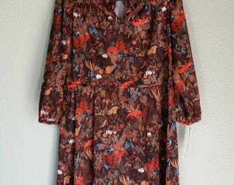 1970's Long Sleeve Animal Print Dress, Hand Sewn, Polyester, Size M/L,  #60267