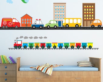 Train Wall Decal,  Cars Buildings Transportation Wall Decal, Reusable Decal Non-toxic Fabric Wall Decals for Kids, A237