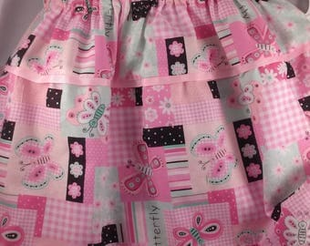Clearance 50 % off Toddlers Twirl Skirt With Butterflies size 3/4 One of a Kind Ready to Ship Last one.