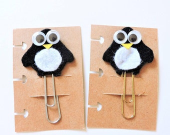 Kawaii Felt Black Penguin Jumbo Paperclip - Planner/Traveler's Notebook Bookmark - Quirky Penguin Silvertone/Goldtone - Animal Paperclip