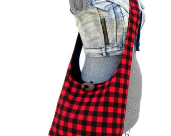 Buffalo Plaid Bag - Crossbody Handbag - Cross Over Bag - Slouch Bag - Hobo Purse - Vegan Handbag - Red Crossbody Bag - Cross Body Purse