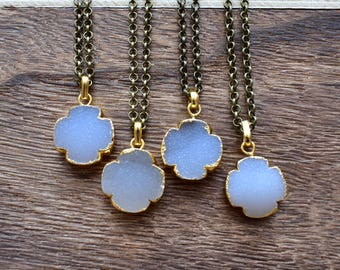 Gold Brass Clover Druzy Necklace/ Natural Crystal Quartz Druzy Stone/ Must Have Gift Stylish Fashion Layering Piece (EP-BND17)
