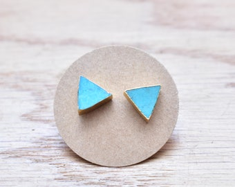 Gold Triangle Turquoise Stud Earrings/ Gold Stud Post Earrings Natural Bright Blue Turquoise/ Natural Turquoise Blue Gold (GSS14-T)