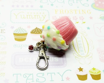 Pink Cupcake Purse Charm, Cold Porcelain Clay Cupcake Charm, Cupcake Bag Charm, Cupcake Keychain, Cupcake Bag Clip, Cupcake Gift