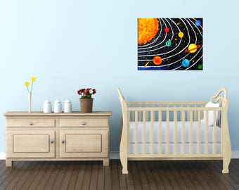 Black Solar System Canvas Art PRINT - pick a size, Whimsical wall art for home, office or kids rooms.