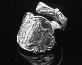 Victorian Souvenir Spoon Ring, Michigan Sterling Silver Ring