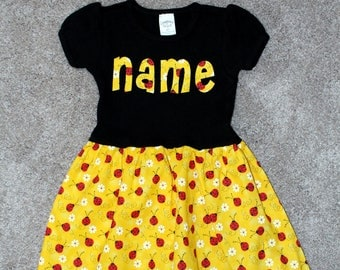 Personalized Dress - lady bugs, daisies, dress, summer, short sleeve dress, toddler dress, boutique style dress