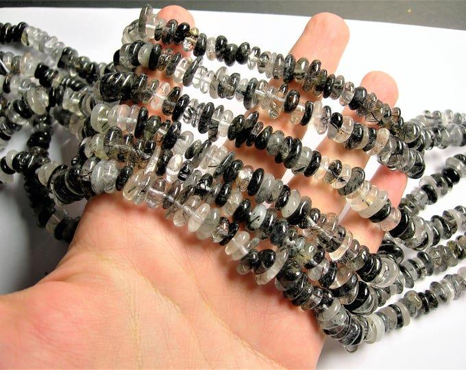 Black rutilated quartz 10mm  - chip stone rondelle disc -  16 inch strand - Tourmalinated quartz - PSC360