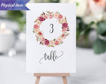 Printed Pink Floral Wreath Table Number Cards, Physical item, Fast shipping, 4x6'' 5x7'', Rustic Wedding Reception Table Number Sign