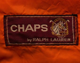 Chaps by Ralph Lauren Orange Nylon Jacket, Polo Horse Logo, Vintage 70s-80s, Spell Out Name Windbreaker, Spellout Outerwear, Lightweight