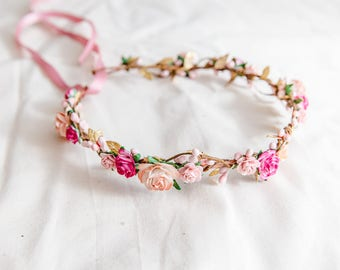 pink peach gold rose wedding flower crown // wedding flower crown / beach wedding flower hair wreath / festive floral headpiece