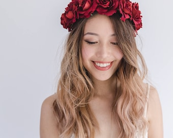 red rose crown // red wedding flower crown, chinese wedding flower crown, red flower headband, red bridal hair wreath halo crown