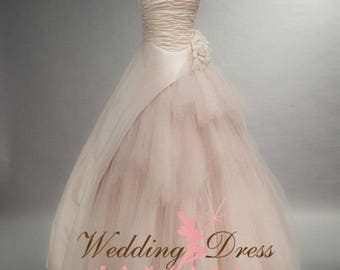 Blush wedding dress etsy beautiful blush wedding dress with tulle and satin ruching junglespirit Images