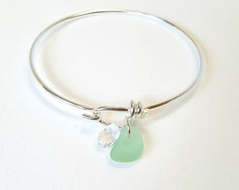 REAL Sea Glass Bracelet, Real Beach Glass Bracelet, Sea Glass Jewelry, Beach Glass Bangle Bracelet,Beach Bracelet, Silver Sea Foam Sea Glass