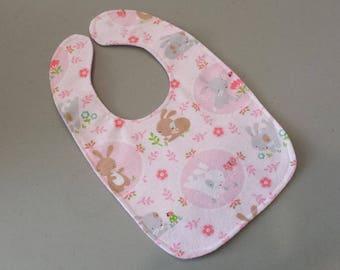 Bunny Baby Bib - Reversible Flannel Bib - Bunnies and Stripes - Pink White and Grey Baby Bib - Baby Shower Gift - Handmade Baby Accessory