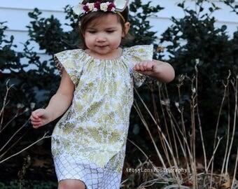 New! Girls Gold and White Flutter Sleeve Dress - Girls Metallic Gold Easter Dress - Gold Damask Print Party Dress - Sizes 12m through 8