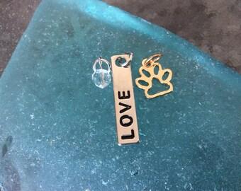 "3 - Pet ""Love"" in mixed metals 3 piece Pendant or Charm Set, Dog pendant, cat charm, charm bracelet set, bangle charm, Stamped Pendant"