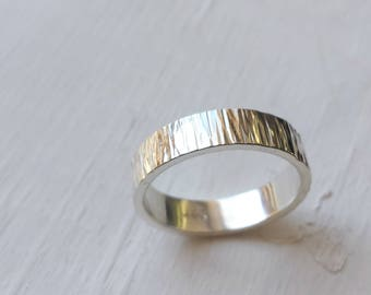 Hammered Silver Bark Ring - 5mm - Rustic Band Ring, Wedding Band, Mens Ring, Mens Wedding Band, Textured Ring