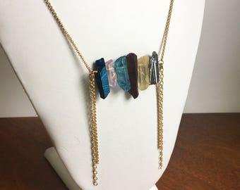 Bohemian Quartz Necklace // colorful quartz, multicolored quartz, boho necklace, ready to ship gifts, fringe necklace, rainbow quartz, blue