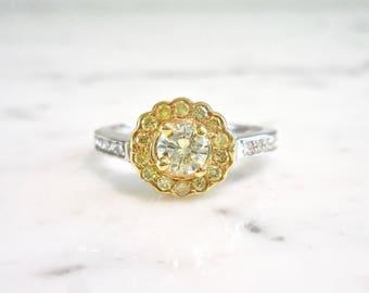 Yellow Diamond Engagement Ring, Yellow Diamond Ring, Flower Ring, Thin Diamond Band, Halo Engagement Ring, Yellow Diamond Jewelry