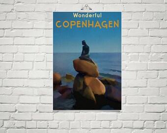 Little Mermaid 18x24 Poster Fine Art Print Wonderful Copenhagen Retro Travel Poster Vintage Art Nautical Decor