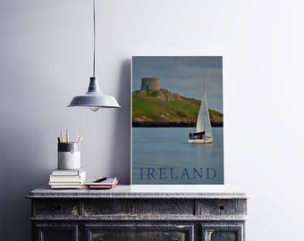 IRELAND 12x18 Poster Art Print Irish Sea Nautical Art Sailboat Print Ancient Castle European Travel Blue Art Print