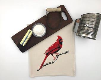 Cardinal Redbird Flour Sack Towel - Deluxe Natural Tea Towel - Hand Screen Printed - Perfect for the bird lover