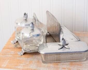 Vintage Kitchen Caddy, Aluminum Glass Lidded Butter Dish, Sugar and Jam Jar Dish, Napkin Holder