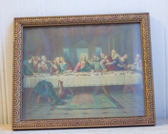 Antique Last Supper Print,  Vintage Religious Framed Art 1920's, Catholic Home, Christian Wall Art