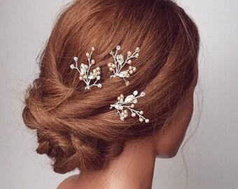 Rose Gold Hairpiece, Bridal Hair Comb, Rose Gold Hair Vine, Wedding Hair Pins, Headpiece, Pearl Hair Piece, Vine Hair Piece, Wedding Hair