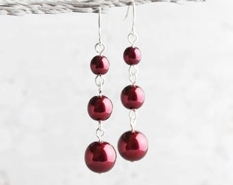 Garnet Pearl Earrings, Burgundy Earrings on Silver Plated Hooks, Dark Red Dangle Earrings, Wine Red Pearl Jewelry