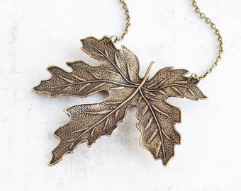 Very Large Maple Leaf Pendant Necklace on Antiqued Brass Chain (70mm)