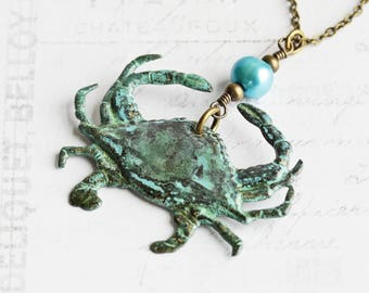 Rustic Blue Patina Crab Pendant Necklace with Freshwater Pearl Accent on Antiqued Brass Chain