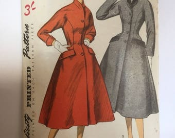 Vintage 1955 uncut Simplicity fit and flare coat pattern - 1950s size 16 (bust 34 hips 37)