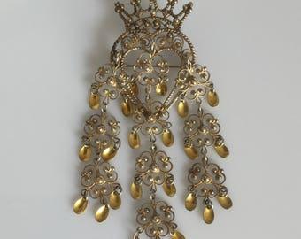 Vintage hallmarked Finn Jensen Oslo silver large Sølje or Solje Norwegian cannetille filigree wedding brooch with heart and crown - c. 1960s