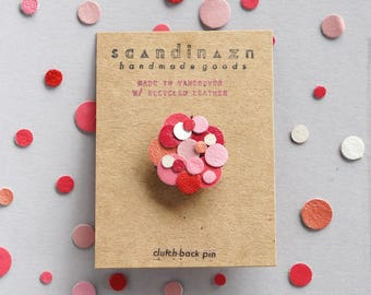 Pink Red Valentine Confetti Black Leather Pin Colourful Sustainable Eco Friendly Gift Kawaii Japanese Clutch Back Lapel Pin