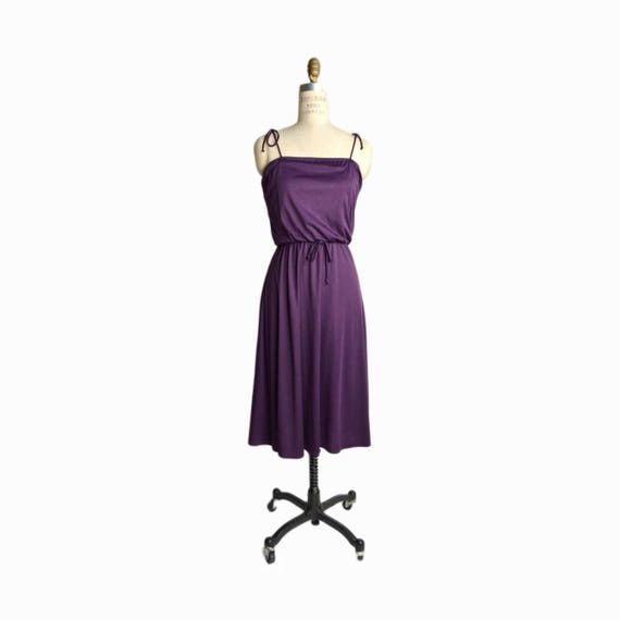 Vintage 70s Strappy Purple Sundress / 70s Summer Dress - women's small