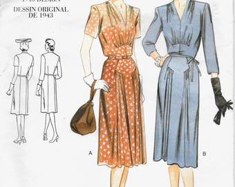 "Vogue 2322 Vintage Original 1943 ""War Years"" Design Dress with Gathers at Neckline Bust and Hip Front  Size 18-20-22 Uncut"
