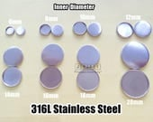 Wholesale 100 316L Stainless Steel Round Bezel Cup Cabochon Base Setting - 6mm/ 8mm/ 10mm/ 12mm/ 14mm/ 16mm/ 18mm/ 20mm as your choice