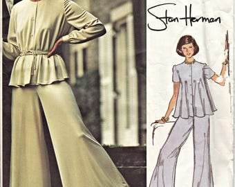 1970's VOGUE Designer Palazzo Pants and Top Pattern  Vogue 2977  Stan Herman  1973  OOP Loungewear Pattern UNCUT, Factory-Folded Bust 32.5