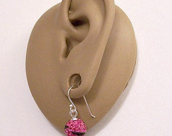 Sterling Silver 925 Pink Fuchsia Black Crystal Rhinestone Encrusted Beads Wire Pierced Stud Earrings Vintage Faceted Round Dangles