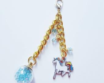 Unicorn charm, unicorn planner charm, planner charm, traveler's notebook charm, TN charm, gold charm, ornament charm, blue charm, cute charm