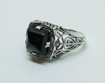 Striking Onyx and Opal Gemstone Sterling Silver Ring Size 8 // Filigree Antique Victorian Edwardian Art Nouveau Art Deco Engagement Bohemian