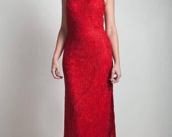 90s red halter beaded dress evening silk gown vintage high side slit SMALL MEDIUM S M