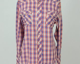 Vintage Hipster Oversized Checked Plaid Cotton Bling Western Shirt Size S/M