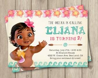 MOANA BIRTHDAY INVITATION, Baby Moana Invitation, Baby Moana Birthday Party Invitation, Girl Moana Party, Digital Invitation 5x7