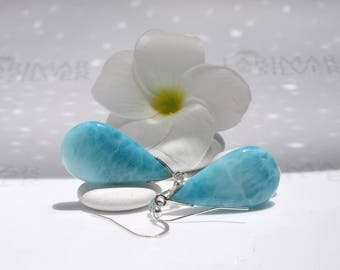 Larimarandsilver earrings, Mermaid Berries 3 - aqua teal Larimar drops, green jade earrings, mint drop earrings aquamarine earrings sea drop
