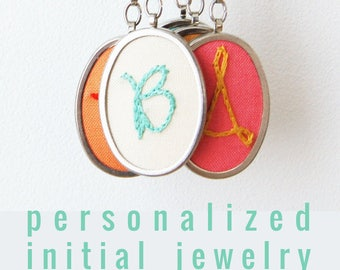 Bridesmaid Jewelry. Bridesmaid Initial. Modern Embroidery. Flower Girl Jewelry. Bridal Party Gift. Personalized Wedding Modern Embroidery