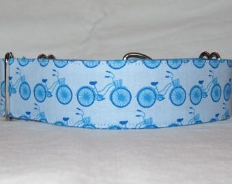 SALE Blue Bicycle Martingale Dog Collar - 1.5 or 2 Inch - fun summer cycling retro